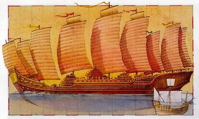 Example of non sea worthy, nor practical, artist illustration of Admiral Zheng He's supposed treasure ships